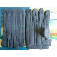 蓝色劳动布棉手套 防寒隔热油田棉手套 白斜纹布五指棉手套